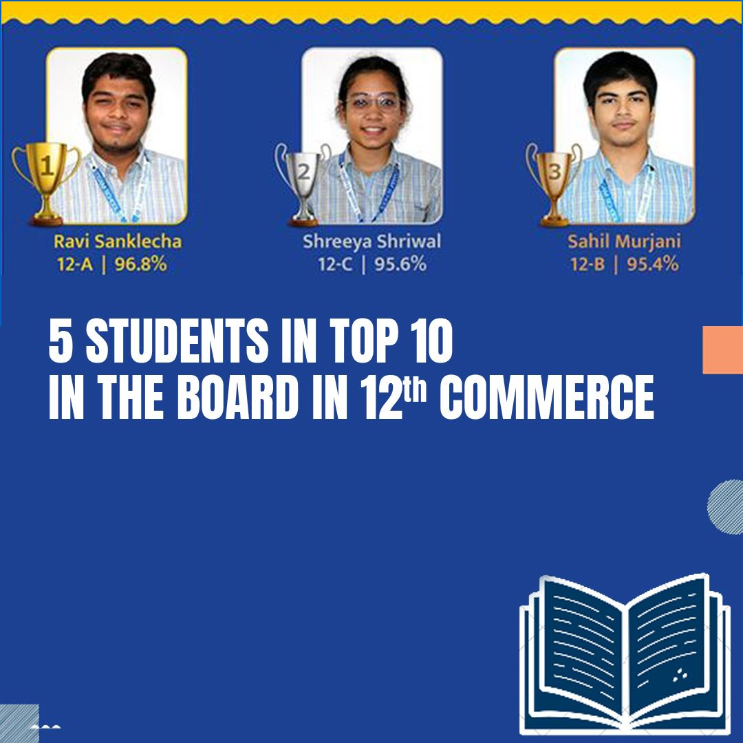 5 Students in Top 10 in the Board in XII Commerce